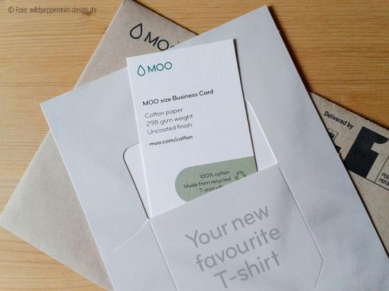 Recycling-Visitenkarten von © MOO aus T-Shirts