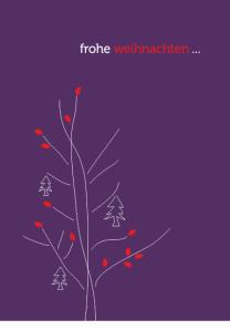 Umweltfreundliche Weihnachtskarte, violett, Zeichnung