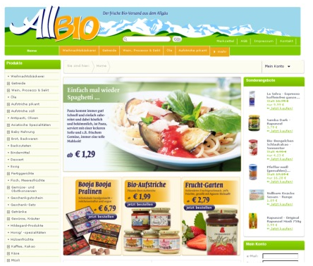 AllBio e-shop, webshop, weblayout shop