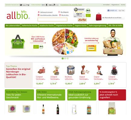 AllBio Webshop, e-shop, Layout Webshop