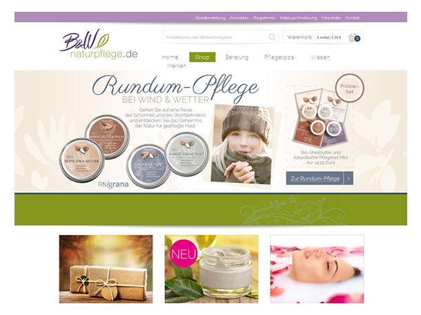 B & W Naturpflege, Webshop, Layout Web-Shop Bio, Kosmetik