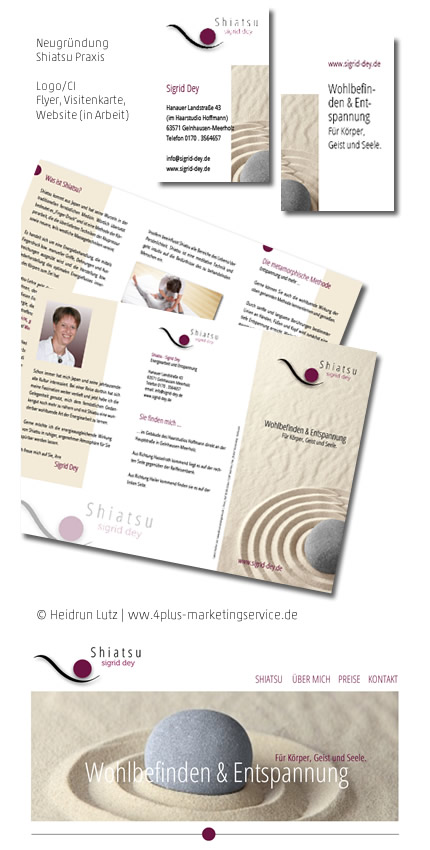 Corporate Design, CI, Shiatsu, Sigrid Dey, Flyer, Visitenkarte, Logo, Website, Gutschein