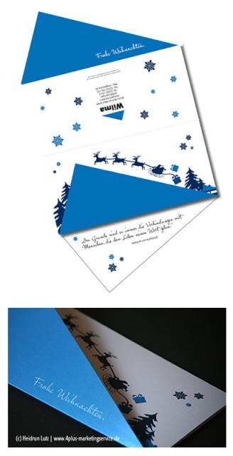 Weihnachtskarte, Sonderformat, exklusiv, Stanzung, CI