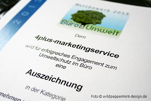 Auszeichnung umweltfreundliches Büro 2013, wildpeppermint-design