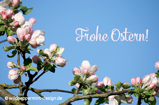 Frohe Ostern mit Apfelblüte