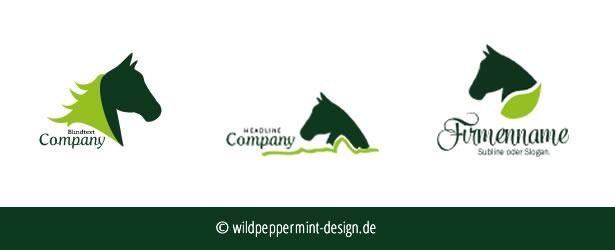 Logoentwürfe, Pferd, Grün // © wildpeppermint-design.de