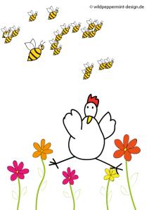 Freude über den Frühling, lustiges Huhn, Comic