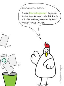 Recycingpapier verwenden, Ottos Rat, lustiges Huhn