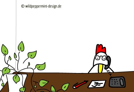 Crazy chicken, verrückets huhn, otto, bürostuhl, der sich selbstständig macht, bürogeplauder, kaffeeküchenklatsch mit heidrun, wildpeppermint-design.de