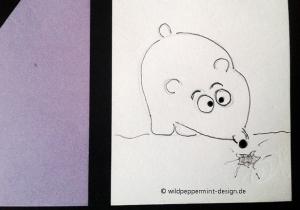 Kritzel-Bärchen, lustiger Bär, Zeichnung, Skizze, wildpeppermint-design.de