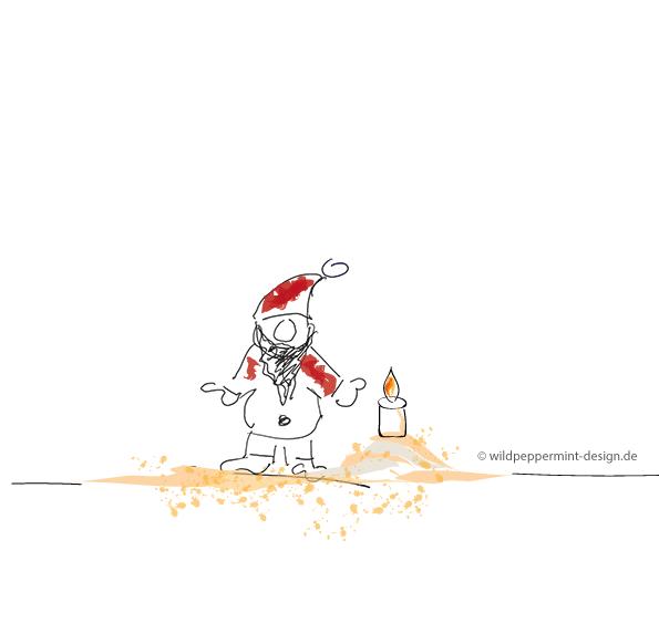 Kritzelei-Weihnachtsmännle, kritzelbild, weihnachtsmann, kerze, schnelle zeichnung, lustig, wildpeppermint-design.de