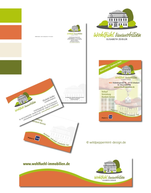 Referenz Corporate Design Wohlfühlimmobilien, Corporate DEsign und Logo Relaunch, Farbpalette Orange, Grün, Creme, wildpeppermint-design.de