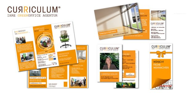 Corporate Design Orange, Werbung Curriculum, Werbematerialien CI Orange, wildpeppermint-design.de