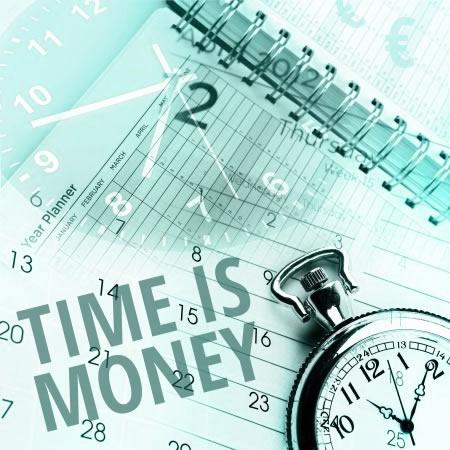 Fotocollage Time is money, zeit ist geld, wildpeppermint-design.de