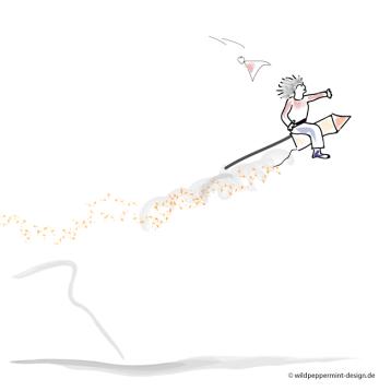 Kritzelbild-Fliegender-Robert, illustration, lustig, humor, wildpeppermint-design