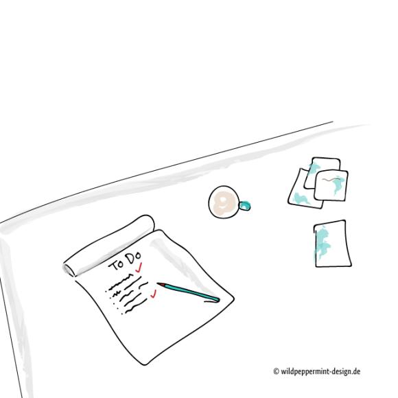 To-Do-Liste adieu, keine To Do Liste, erledigt liste, illustrtion einfach, schreibtisch, büro, wildpeppermint-design.de