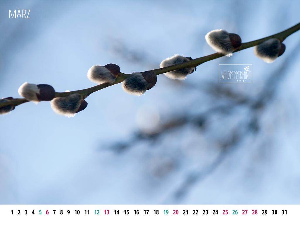 Gratis Wallpaper zum Download: Kalenderblatt März 1024 x 768 und 1680 x 1050
