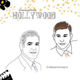 Illustration Hollywoodstars, Kirtzelbild Portrait, wildpeppermint-design.de