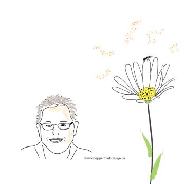 Kritzelbild-Margarite-Frauenportrait, Illustration Frau, inidividuelle Avatare, wildpeppermint-design.de