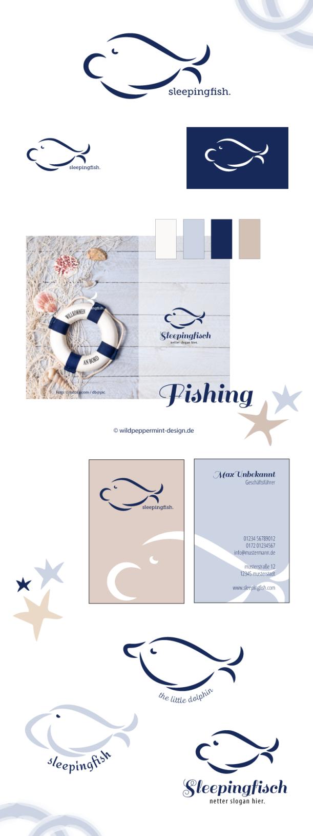Logo Entwürfe Maritim Fisch, freie Logoentwürfe, Symbol Fisch, Logo mit Fisch, Nordisch, wildpeppermint-design.de