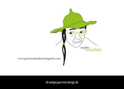Referenz Logo Wohofsky, Küchengarten, Portrait, zeichnung, wildpeppermint-design.de