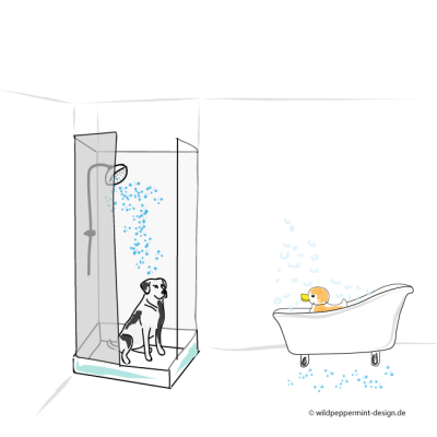 Kritzelbild Badevergnügen, Hund in der Dusche, Qietschente in der Badewanne, tierisches Badevergnügen, humor, lustige zeichnungen, kritzelbilder, heidruns kritzelbilder