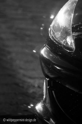 Auto detail in der abendsonne, reflexe sonne, sw-foto, wildpeppermint-design.de