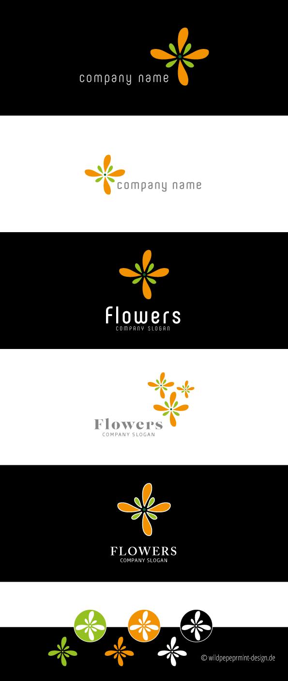 Freie Logoentwürfe, Logo Blume, Logo Blüte, Logo Orange und Grün, Logo für Existenzgründer, Logo für Kleinunternehmen, Logo frisch und modern, logos von wildpeppermint-design.de