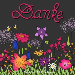 Handlettering Danke, illustration blumen, wildblumen handgezeichnete wörter, wildpeppermint-design.de
