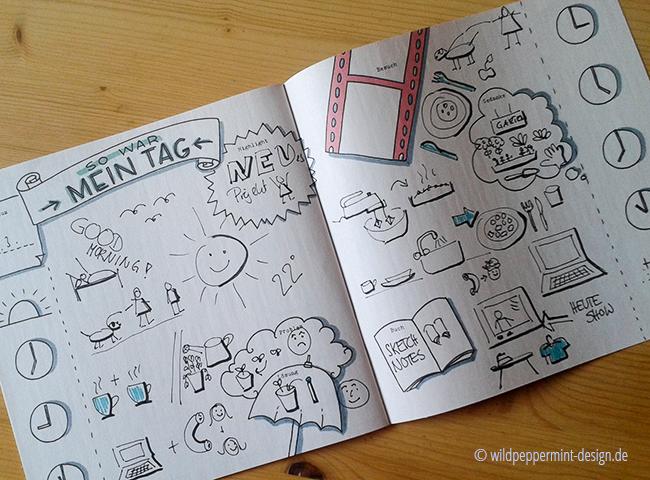 sketchnotes-ein tag in bildern, wildpeppermint-design.de