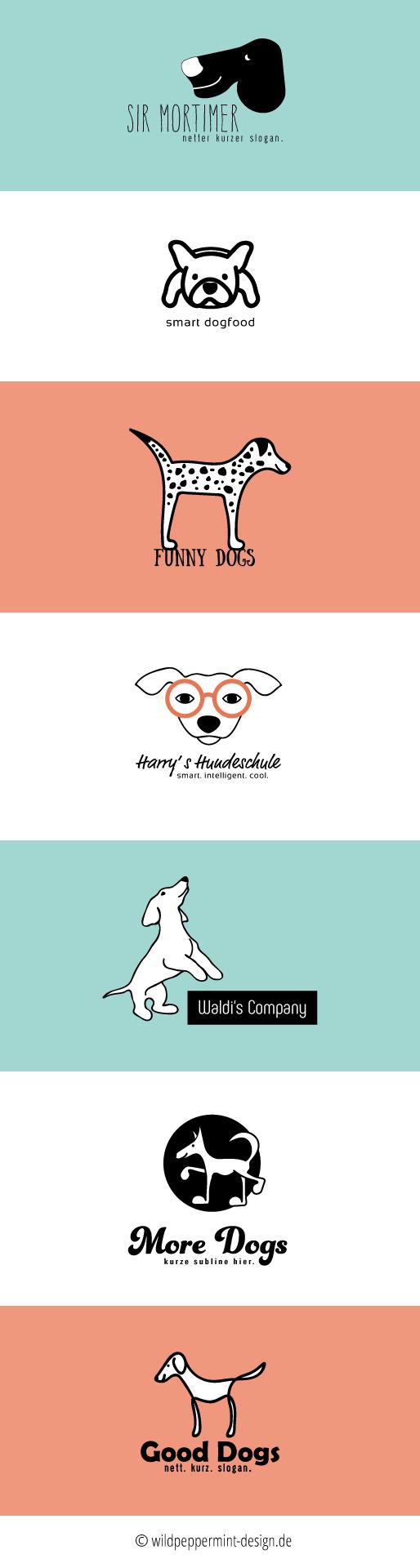 Logo mit Hund, Logoentwürfe mit Hund, freie Logos Hund   © wildpeppermint-design.de
