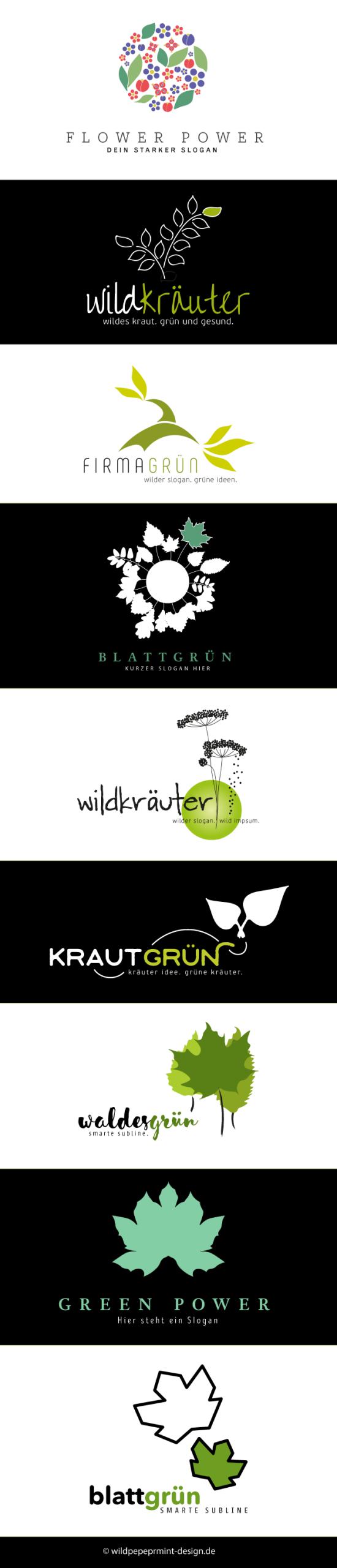 Freie-Logoentwürfe, Garten, Kräuter, Logo Gartenbau, Logo Kräuter, Logo grüne Branche, Logo Gärtner, Logo Grün, Logos für Gartenbau, Logo-Design, Logo Blätter, Logo Wildkräuter, Logo Wald, Logo Baum, wildpeppermint-design