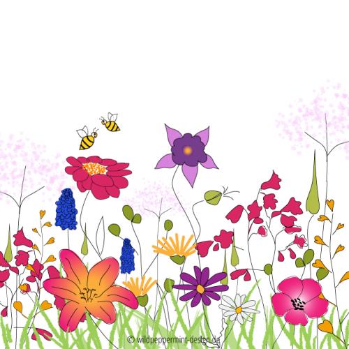 Kritzelbild-Blütenbunt, vielfalt, wildblumen, illustration, wildpepeprmint-design
