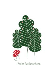 Weihnachtskarte Bäume und Pilze