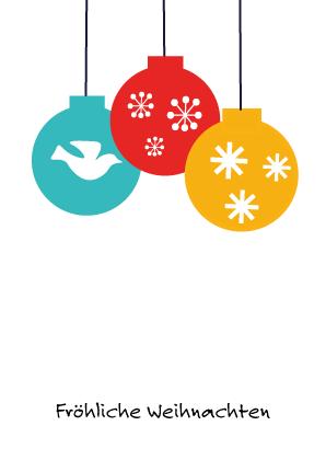 Weihnachtskarte bunte Kugeln