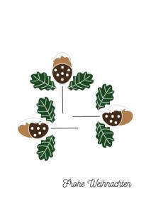 Weihnachtskarte Eicheln Schnee