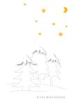 Weihnachtskarte Tannenbäume Schnee