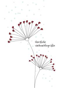 Weihnachtskarte Fantasie Wildblume handgezeichnet
