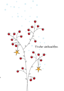 Weihnachtskarte Beerezweige Sterne