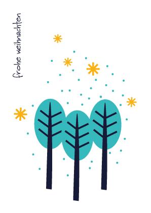 Weihnachtskarte Drei Bäume
