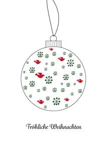 Weihnachtskarte Kugel Schneeflocken