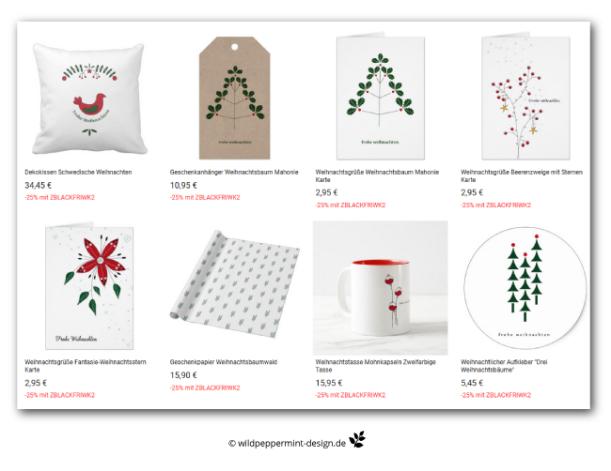Weihnachtskarten, Geschenkanhänger, Geschenkpapier, Aufkleber, Dekokissen, weihnachtlich, natürlich, minimal, skandinavisch, schwedisch, scnadiDesign, Kraftkarton, naturmotive weihnachten, wildpeppermint-design.de