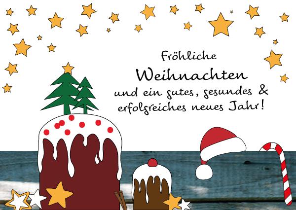 Fröhliche Weihnachten, Illustration Weihnachten, Kritzelbild Weihnachten, Weihnachtskuchen, Sterne, wildpeppermint-design