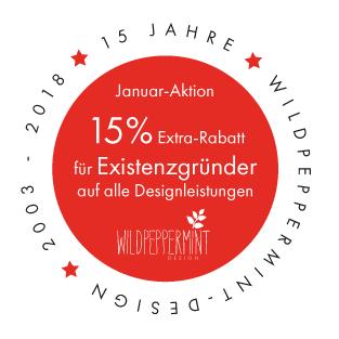 Jubi-Januar-Aktion wildpeppermint-design, Rabatt für existenzgründer auf Designleistungen