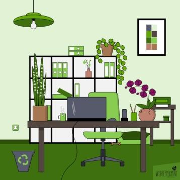 Grünes-Büro-Illustration, nachhaltige illustrationen, business illustration, grafik grünes büro, design grünes büro, nachhaltige grafik, wildpepeprmint-design.de