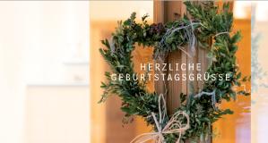 Kunden Geburtstagskarte für Landhaus Theresa, wildpeppermint-design.de