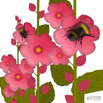 Illustration Hummel an Stockrosen, © wildpeppermint-design.de