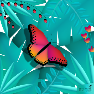 Illustration Schmetterling, exotisch, fantasievoll © wildpeppermint-design.de