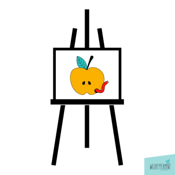 Staffelei, Apfel mit Wurm, Flatdesign, minimal, © wildpepeprmint-design.de