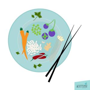 Asia Food, asiatisch essen, Illustration, © wildpepeprmint-design.de